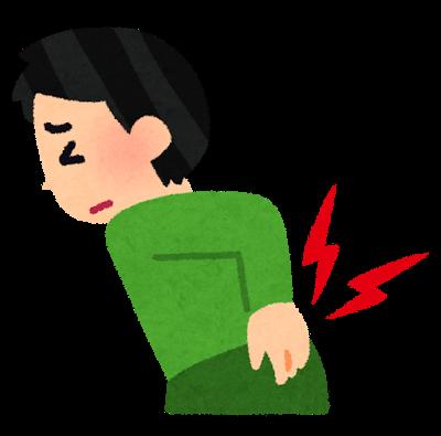交通事故による腰痛(腰椎捻挫)に悩む男性のイラスト